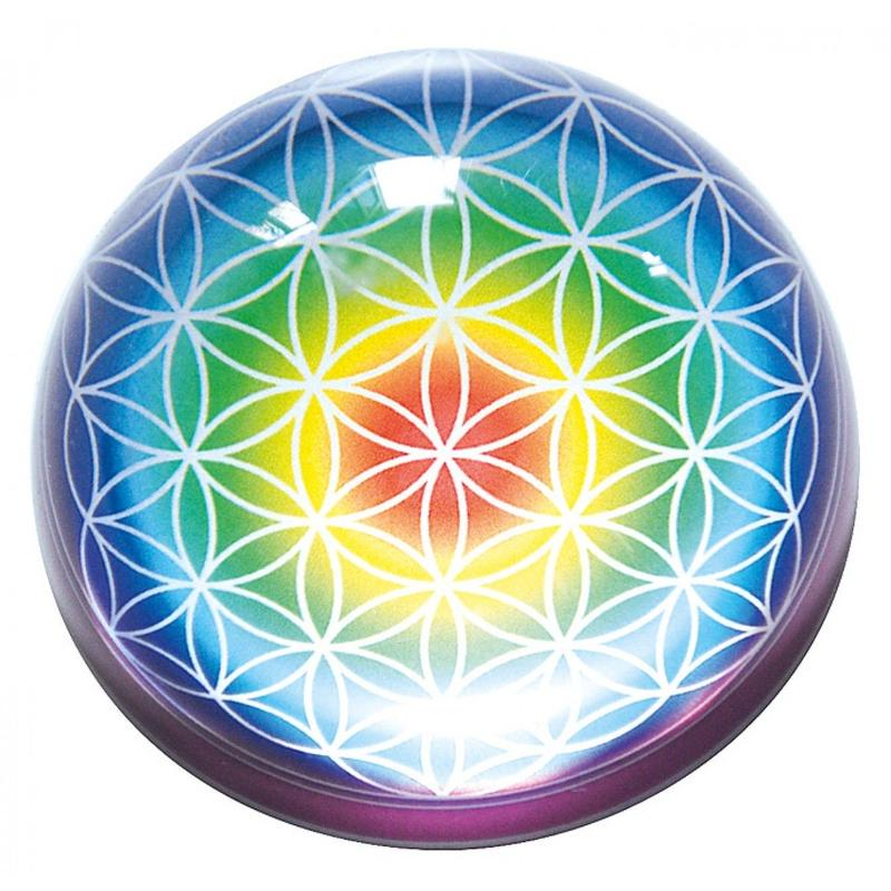"""flower of life"" rainbow glass paper weight (so004)"