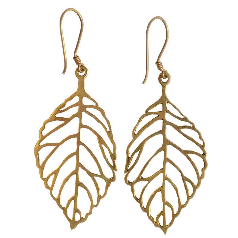 """nepal """"leaf"""" brass pierced earrings (w006)"""