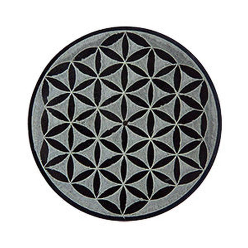 """flower of life"" Incense stick holder soapstone  (si001)"