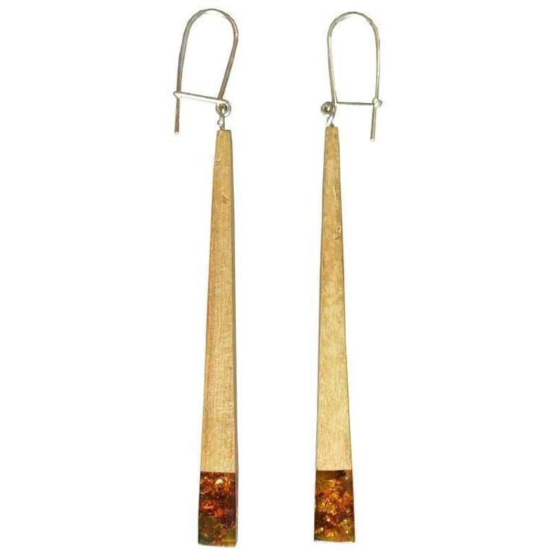 handmade amber×wood pierced earring (gap002c)