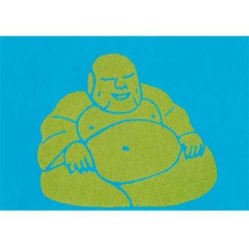 "L.M.kartenvertrieb ""buddha"" flocky postcard -turquoise- (glmf001)"