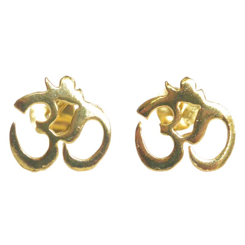 """""""om""""  -silver 925-  gold plated pierced earrings  (sap002)"""