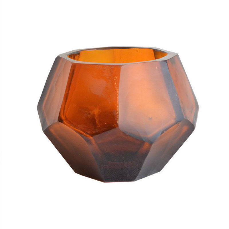 """India made"" tea light  candle holder -dark amber- (OMAC1300)"
