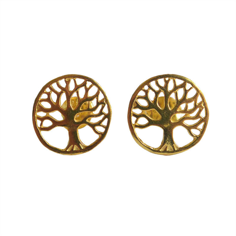 """tree of life""  silver 925  gold plated pierced earrings  (sap003)"