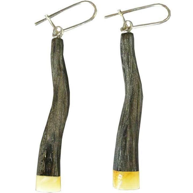 handmade amber×wood pierced earring (gap002a)