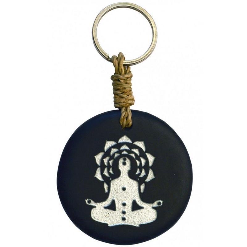 """chakra buddha"" stone  key ring  -black/silver-  (sk002)"