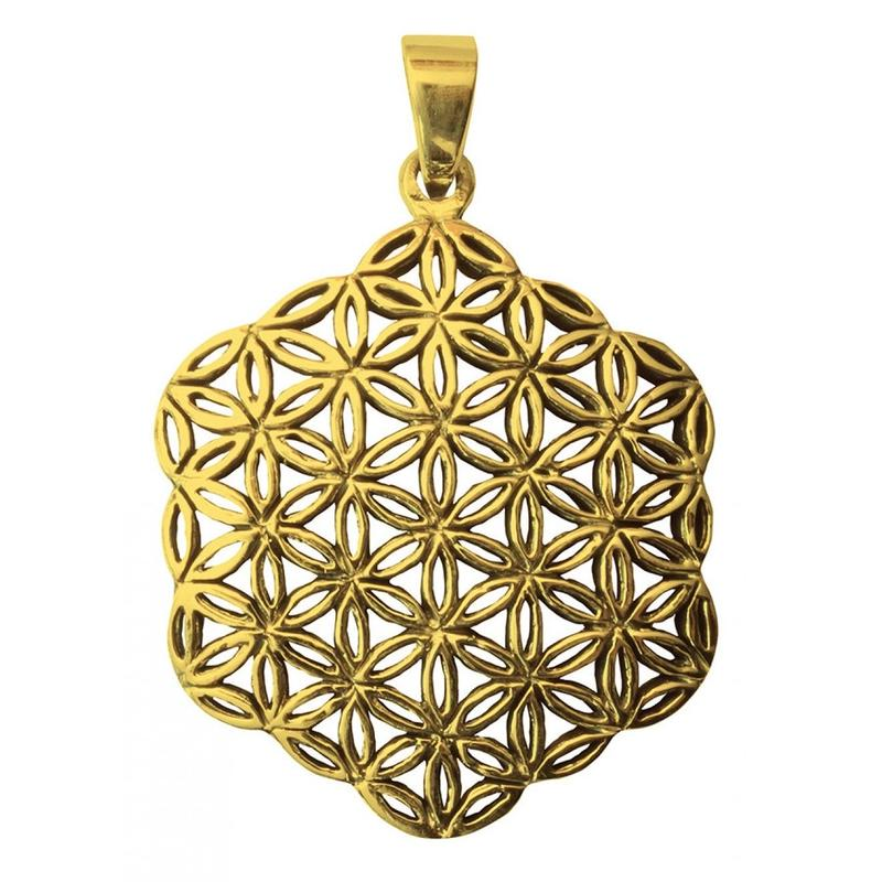 """flower of life"" gold brass hexagon pendant top  (sat002)"