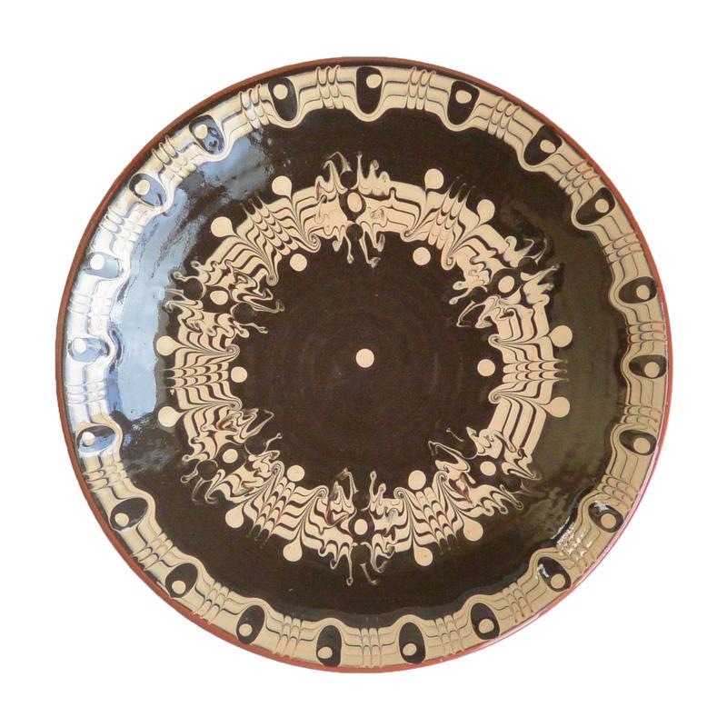 """troyan"" dish (m) -black- bulgaria hand made/ monotone (td-mb)"
