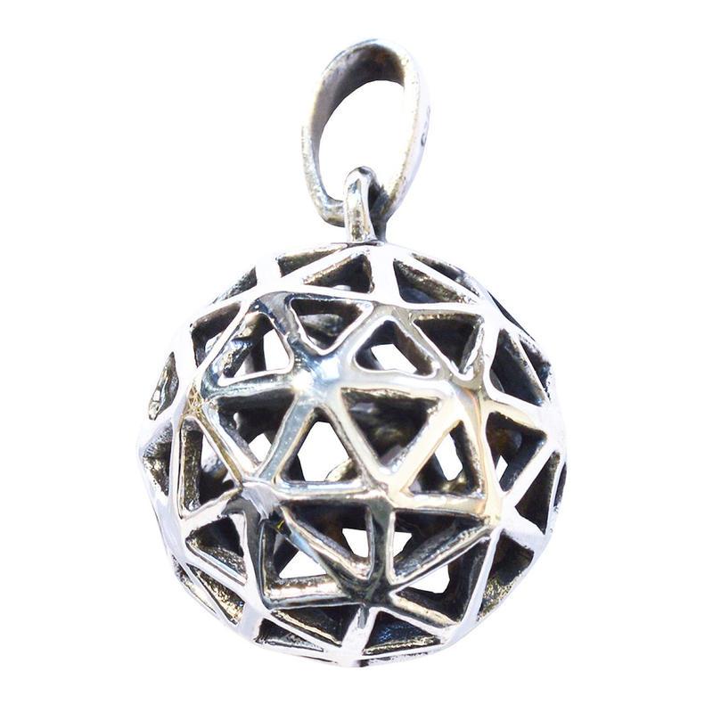 """christ grid""  brass silver plated ball pendant top (sat007)"