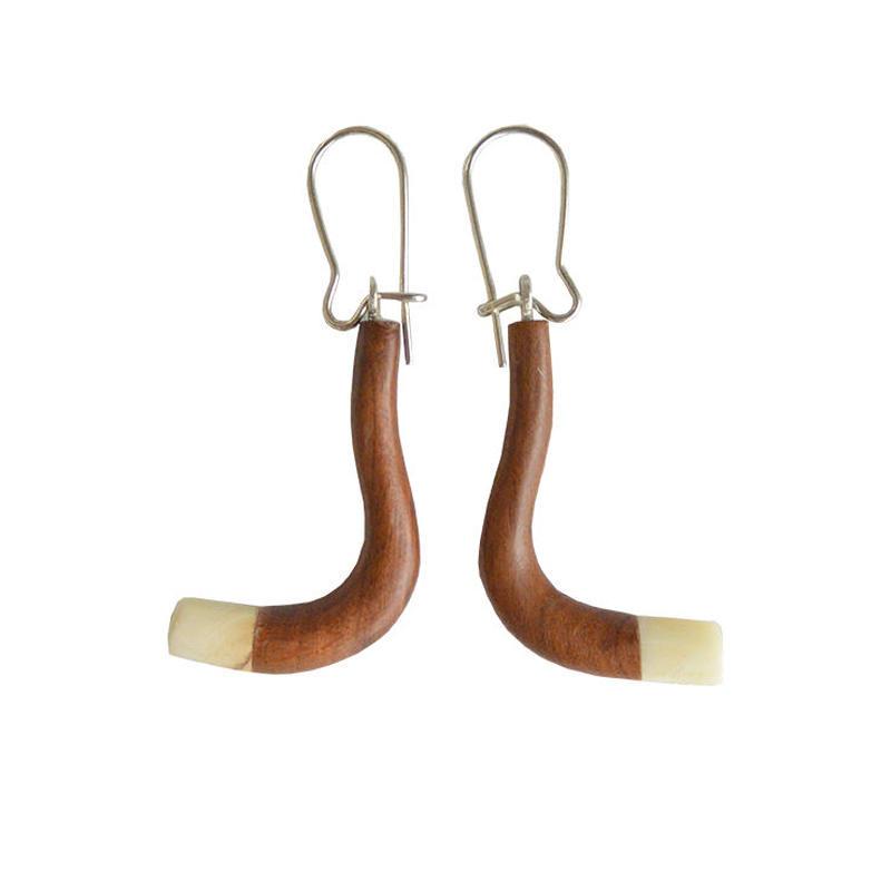 handmade amber×wood pierced earring (wp002-f)