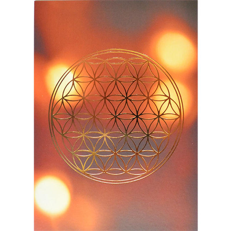"""flower of life"" postcard -orange dot × gold- (spc003-2)"