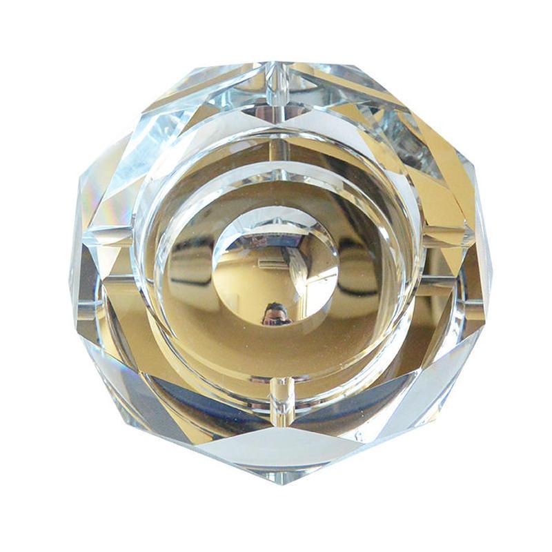 "60's antique octagona ""crystal glass"" ashtray (mh006)"