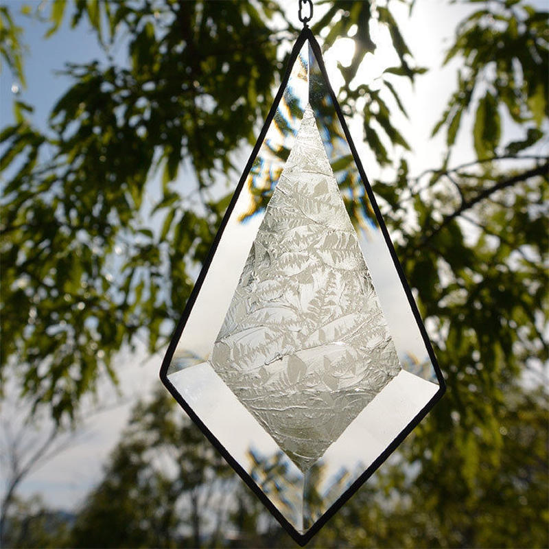 stained glass ornament diamond m (go013)