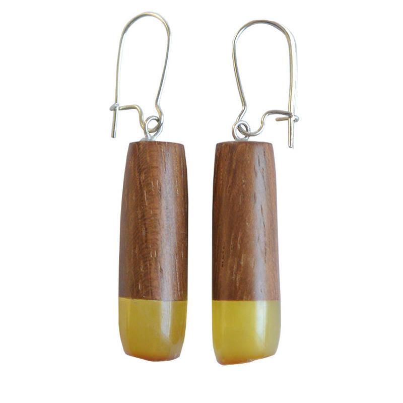 handmade amber×wood pierced earring (wp004-h)
