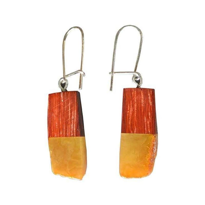 handmade amber×wood pierced earring (gap001b)
