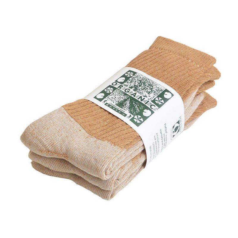 """ORGANIC THREADS"" organic regular crew socks ""3pack set"" -brown- [s.m.l.3size] (otr_brn)"