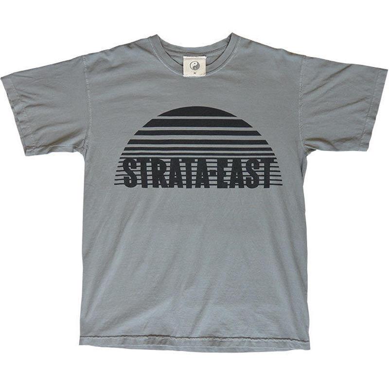 """E-yang"" Strata-East Records / big print garment dyed T-shirts / grey   -m.l.xl.size-  (et.str.g)"