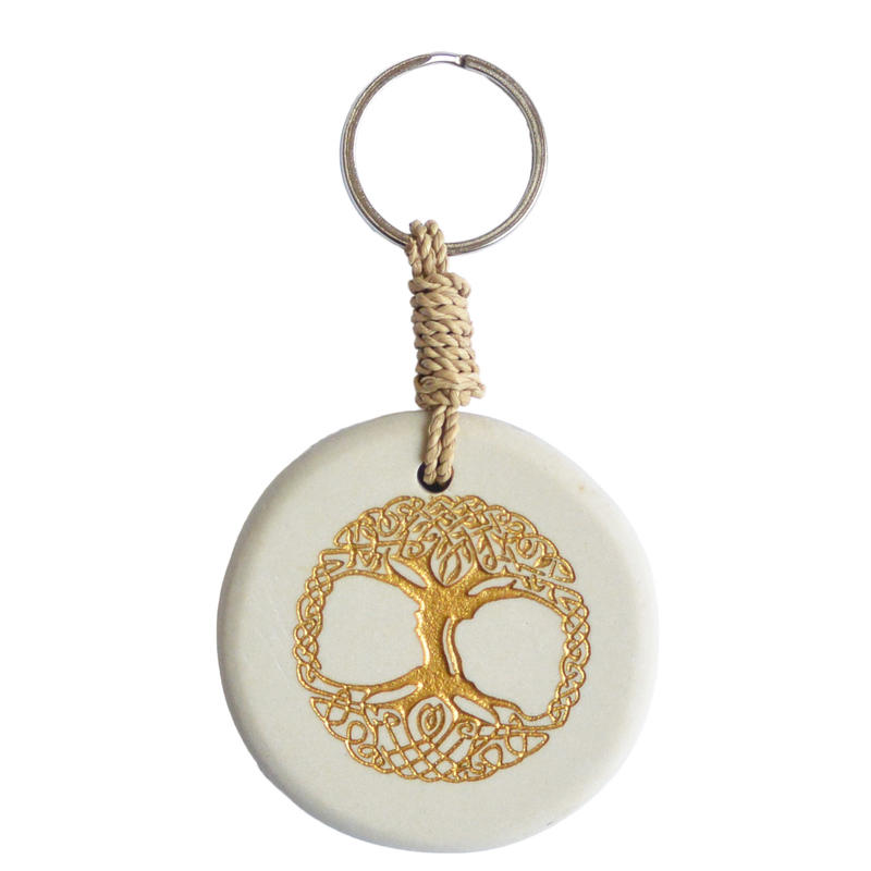 """tree of life"" stone  key ring - natural / gold -  (sk001)"