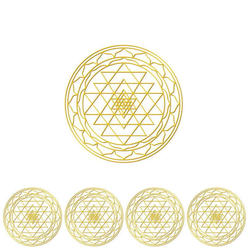 """""""sri-yantra"""" gold sticker -5 piece set-  (sst003-1)"""