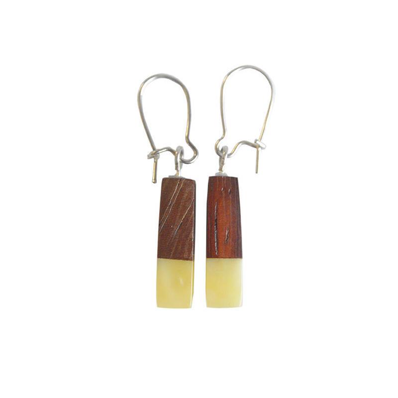 handmade amber×wood pierced earring (wp001)