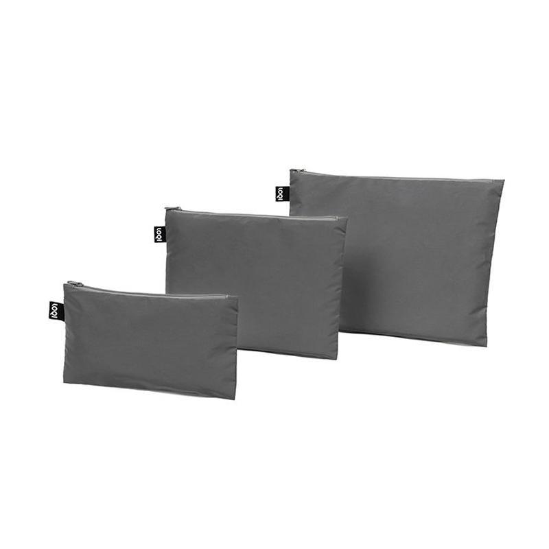 """LOQI "" reflective silver zip pockets  -3 set- (ZP.RE)"