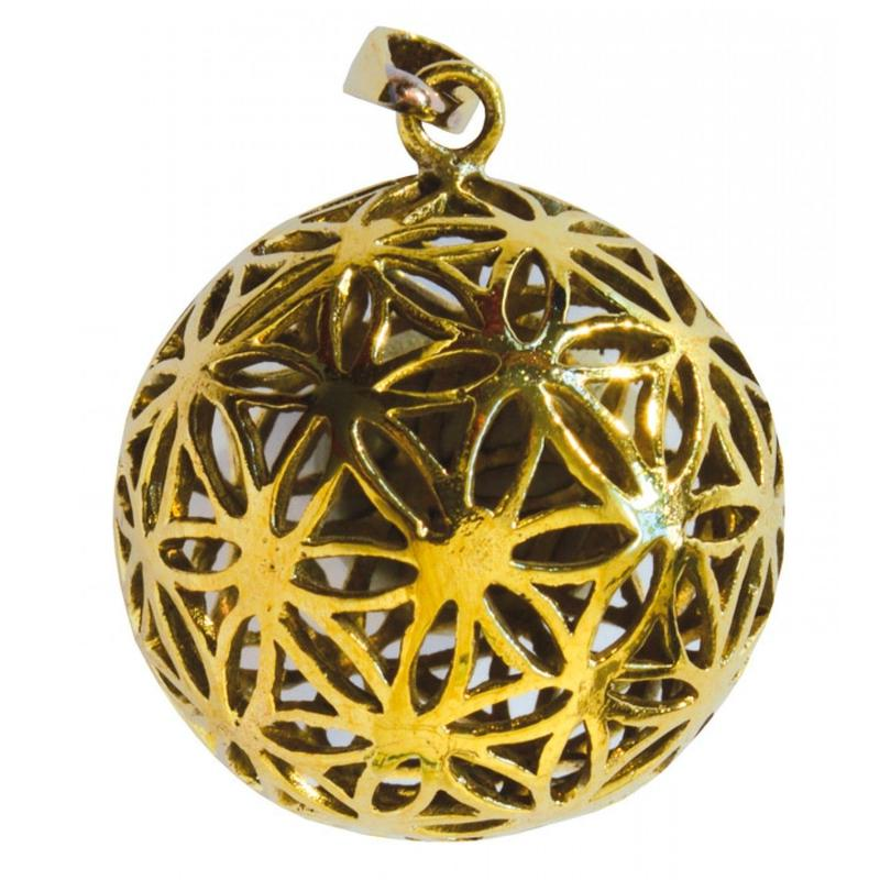 """flower of life"" gold brass ball pendant top  (sat004)"