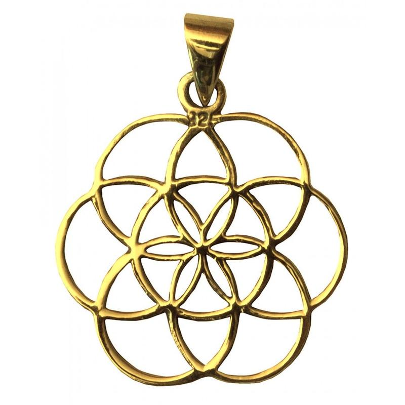 """""""seed of life"""" gold brass pendant top  (sat008)"""