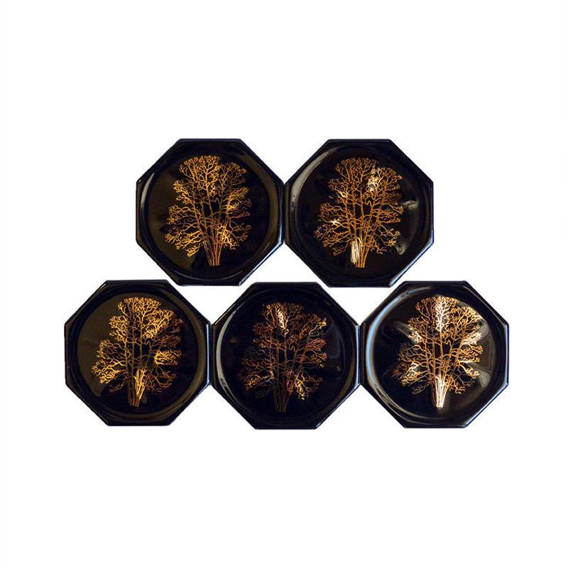 "antique ""octagonal gold wood""  black coaster -5 piece set- (mh003)"