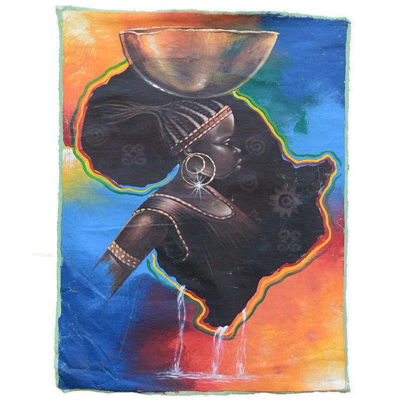 gambia african lady linen picture (gp007)