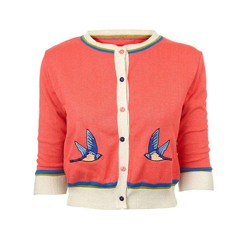 classic cardigan/swallow/hot coral
