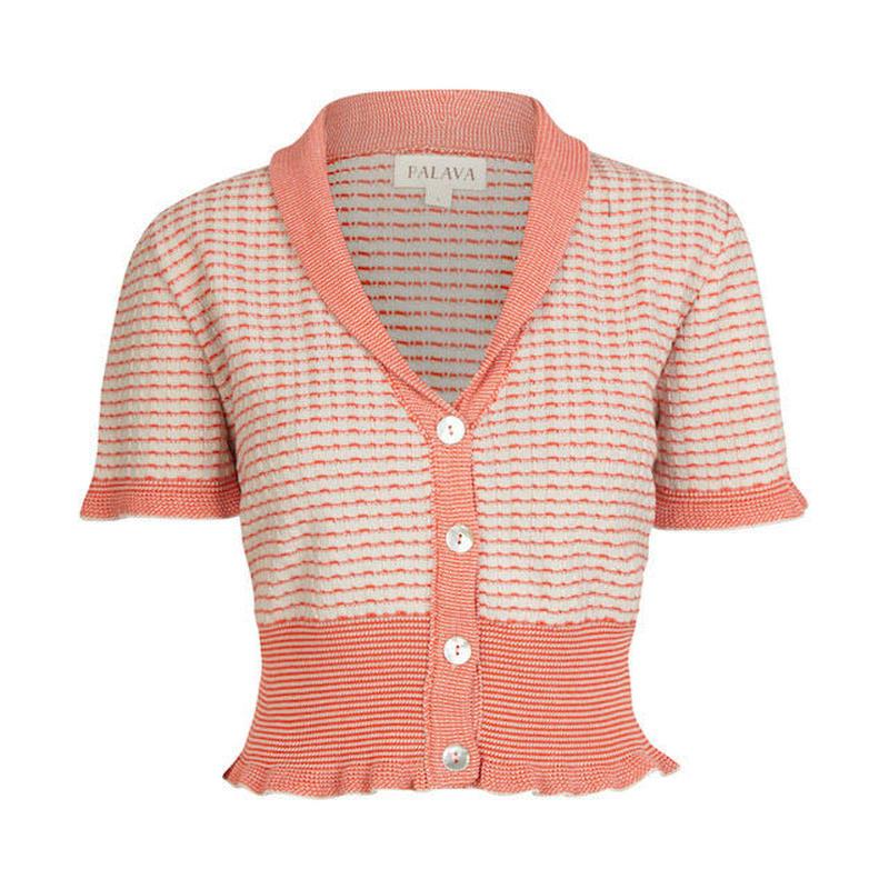cardigan/stripe/red and cream