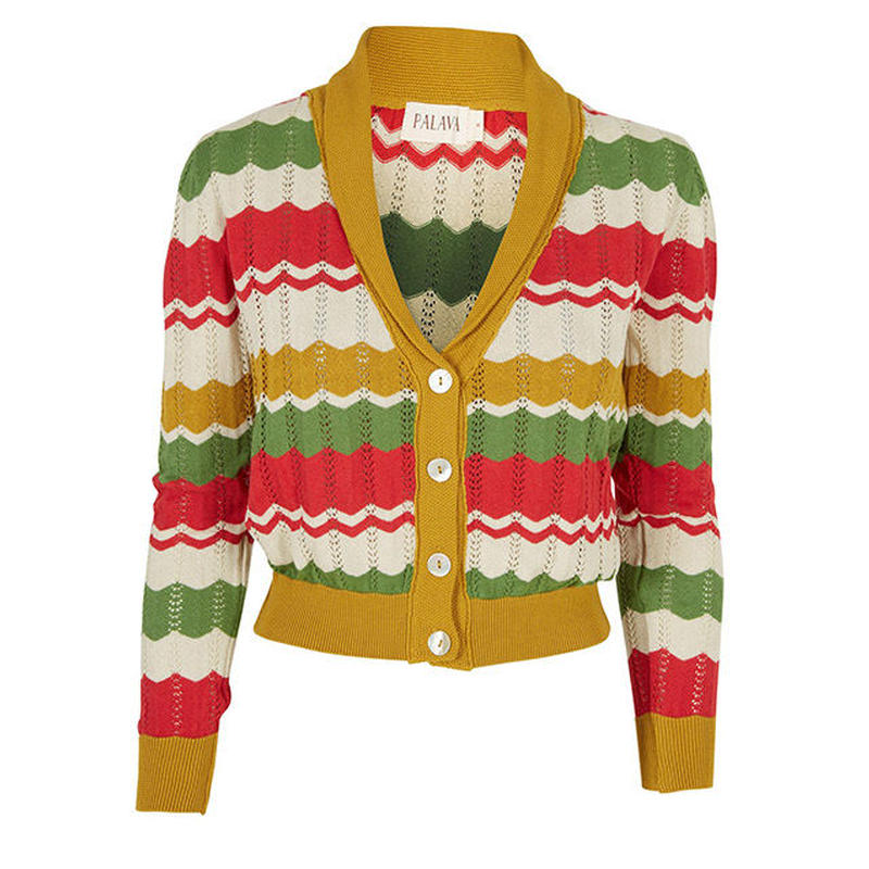 shawl neck cardigan/green/mustard