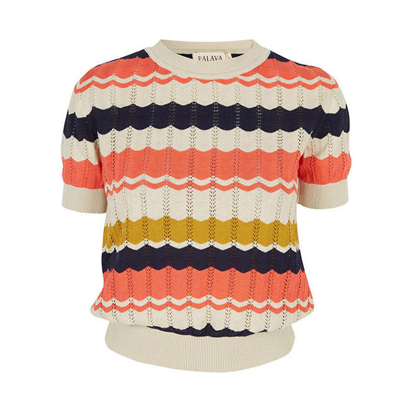 short sleeve top/navy/coral