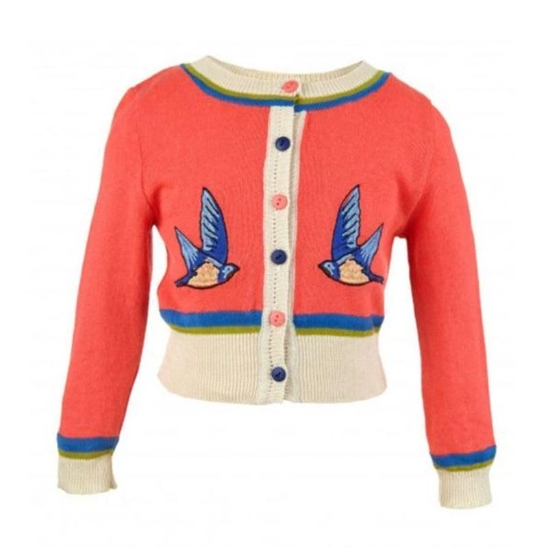 classic cardigan/swallow/hot coral 4-7y