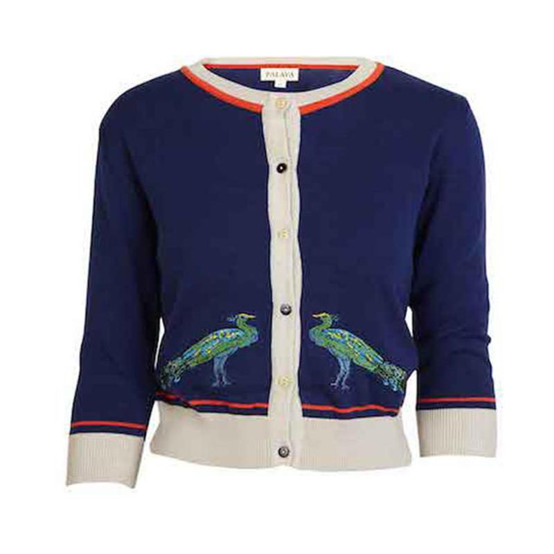 classic cardigan/peacock/navy