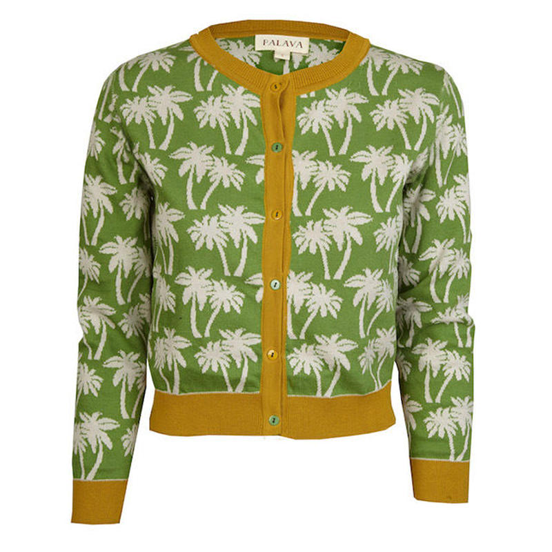 cardigan/palm tree/green