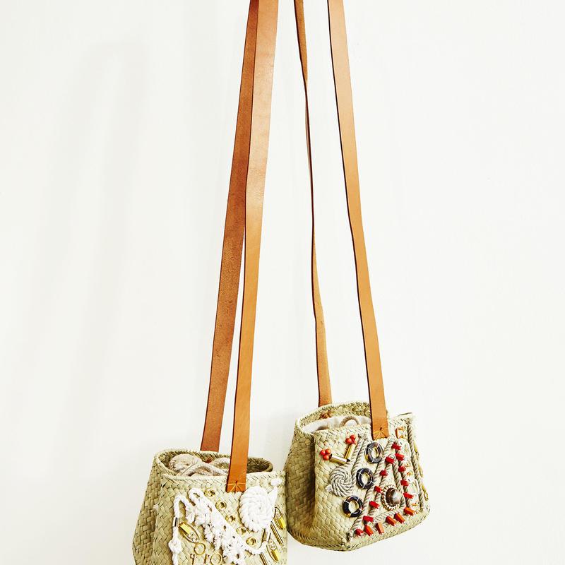 刺繍かごミニバッグ