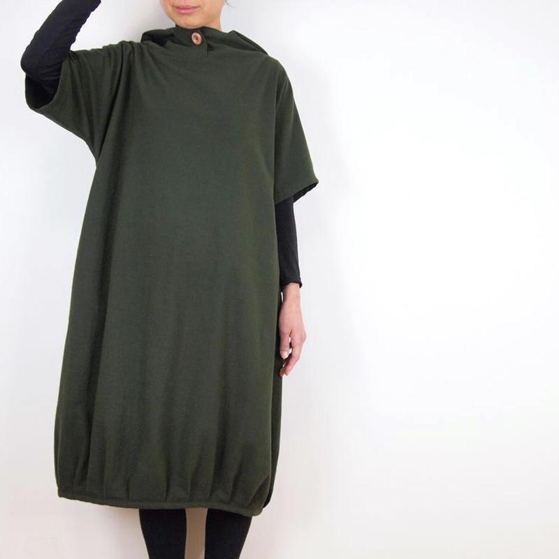 Kimamaフードバルーンワンピース(木綿 松葉)【受注生産対応】