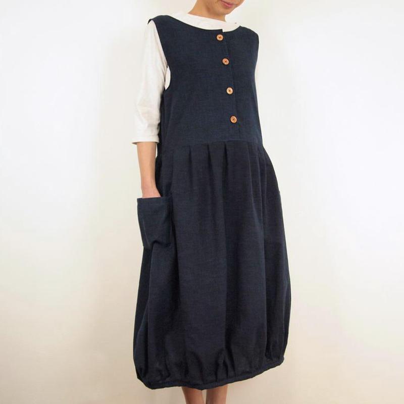 Furusuバルーンワンピース(木綿 濃紺)【受注生産対応】