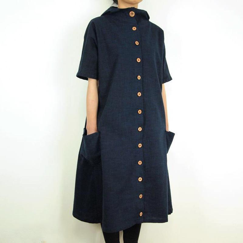 Furusuボタンワンピース(木綿 鉄紺)【受注生産対応】