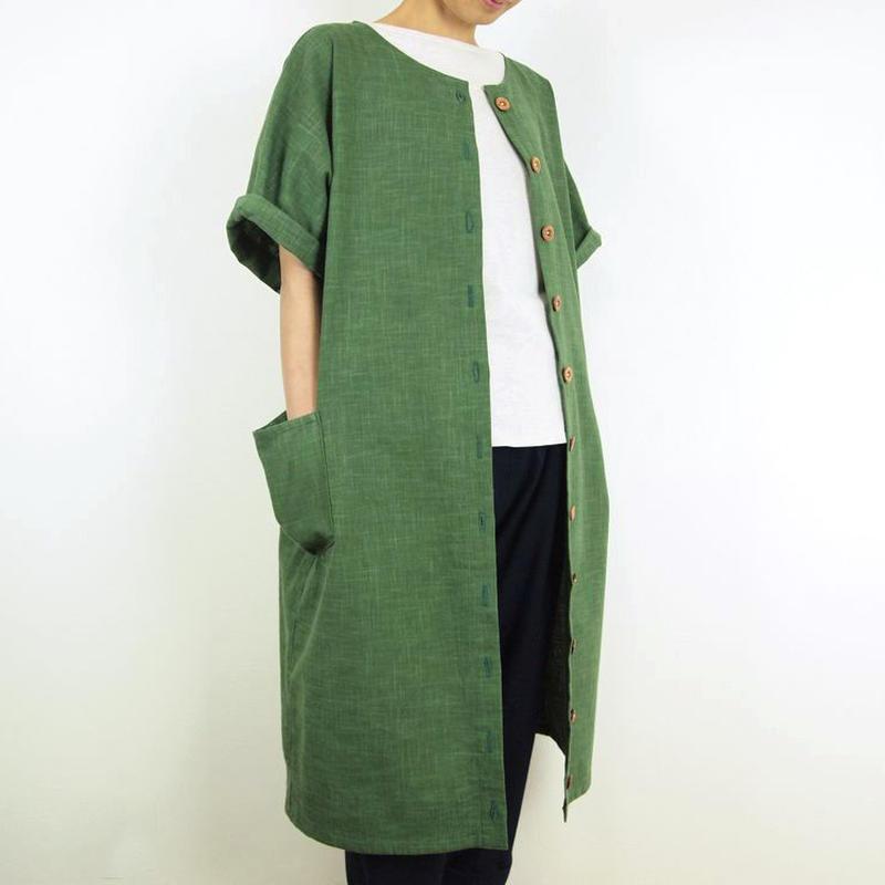 Furusuボタンワンピース(木綿 深緑)【受注生産対応】