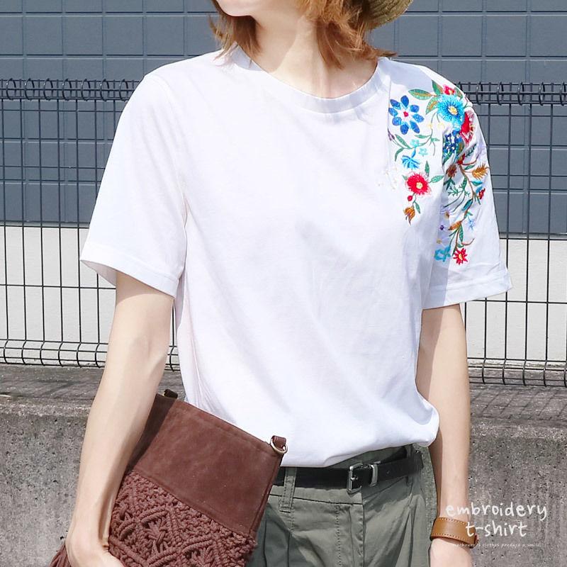 【ポスト便 送料無料】刺繍デザインカットソー