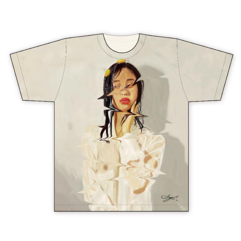 MAGO×FELIC オーガニック フルグラフィックTシャツ1 【無精卵を被る女】
