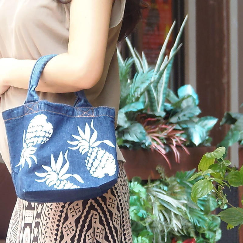 PINES denim tote wash blue name pritnt ok!