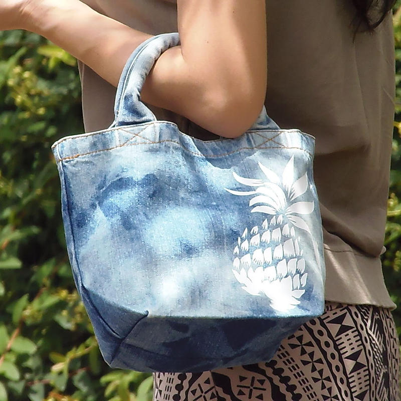 BIG PINE denim tote vintage blue name pritnt ok!