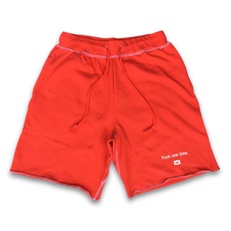 """F**k one time"" SUMMER RESORT SHORT SWEAT PANTS  (ATLANTIC SALMON RED)"