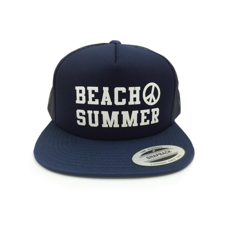 """BEACH SUMMER"" SNAPBACK MESH CAP (NAVY)"