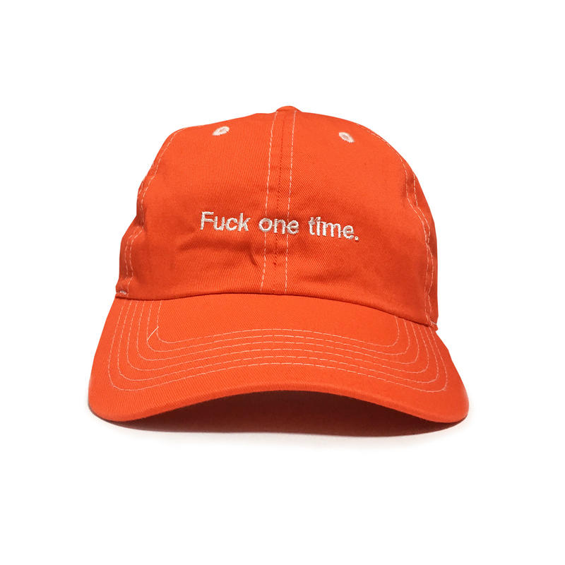 """F**k one time"" SUMMER RESORT 6PANEL CAP (ATLANTIC SALMON RED)"