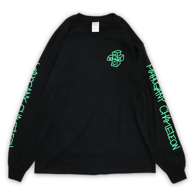 """NEON TAGGING"" L/S T-SHIRTS (BLACK / NEON GREEN)"