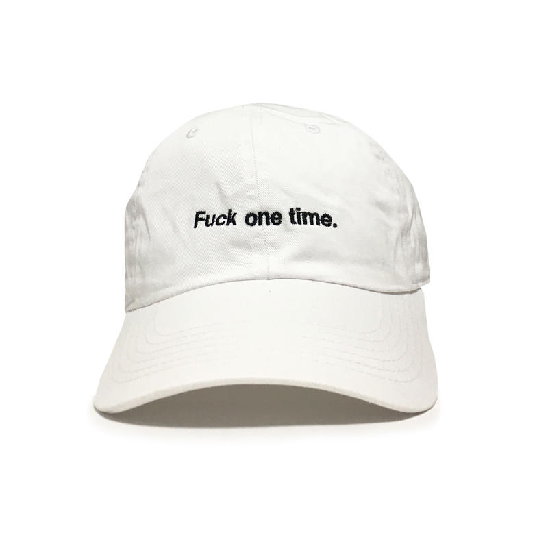 """F**k one time"" SUMMER RESORT 6PANEL CAP (PURE WHITE)"